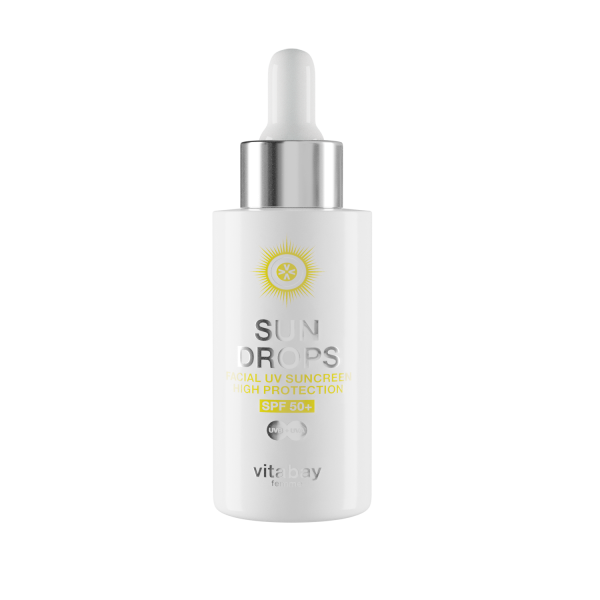 SUN DROPS 40 ml - UV Schutz Fluid lsf 50+ Protection - Gesicht Suncreen mit Anti Aging Effekt - wass