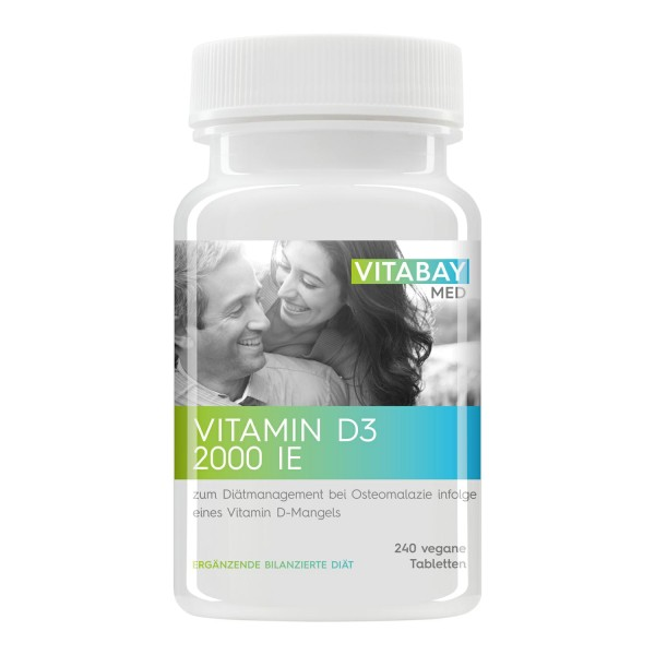 Vitamin D3 2000 IE - zum Diätmanagement bei Osteomalazie - 240 Vegane Tabletten